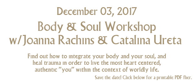 November 19, 2017 body and soul workshop with akashic records and special guest